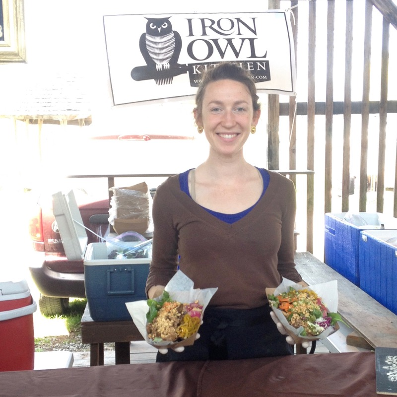 a throwback! iron owl kitchen was the original business - here i am at the ithaca farmers' market, slingin' noodle bowls