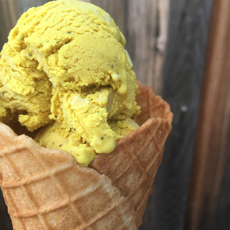 turmeric ice cream made with sheeps milk yogurt