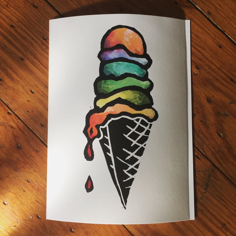 the obsession with ice cream drove me to make custom painted, hand printed cards (you can also buy these on etsy)