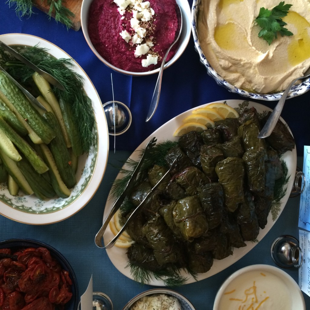 wedding appetizers! homemade swiss-chard dolmas!